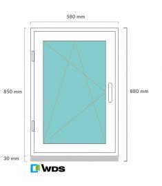 Egyszárnyas, bukó-nyíló műanyag ablak, 60x90 cm