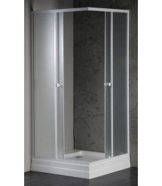 AQUALINE ALAIN Szögletes zuhanykabin 90x90x185 cm, BRICK üveg, fehér profil BTQ900