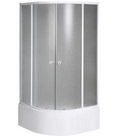 AQUALINE AMICHETTA Íves zuhanykabin, 90x90x150 cm, matt biztonsági üveg, fehér profil BTR903
