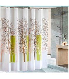 Aqualine Polyester zuhanyfüggöny 180x180 cm, fehér/zöld, fa zp009/180