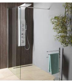 Aqualine WALK-IN zuhanyfal, 100x190 cm, teleszkópos merevítővel, átlátszó üveg, WI101