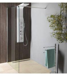 Aqualine WALK-IN zuhanyfal, 90x190 cm, teleszkópos merevítővel, átlátszó üveg, WI091