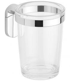 Aqualine ZERO fali pohártartó, fém/műanyag, 7.2x10x9.6 cm, króm/átlátszó, ZE004