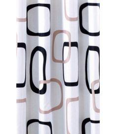 AQUALINE zuhanyfüggöny 180x200 cm Polyester, fehér/fekete/szürke, ZP004