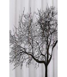 AQUALINE zuhanyfüggöny 180x200 cm Polyester, fekete/fehér, fa, ZP008