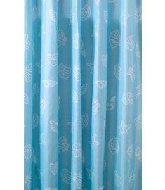 AQUALINE zuhanyfüggöny 180x200 cm Polyester, kék kagyló, ZP006