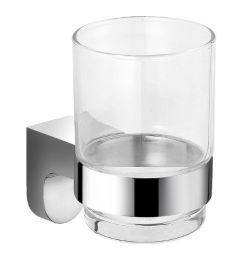 Ferro AUDREY üveg fogmosópohár, tartóval, króm AD03