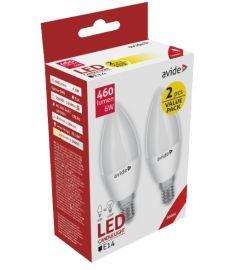Avide CANDLE LED izzó, 2db, E14, 6W, meleg fehér fényű ABC14WW-6W-APTP