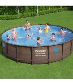 Bestway BORA BORA fémvázas medence, 549x122 cm, létrával, vízforgatóval, takaróval, FFA 658