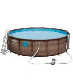 Bestway EVIA fémvázas medence, 488x122 cm, létrával, vízforgatóval, takaróval, alátéttel, FFA 652