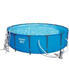 Bestway MAURITIUS fémvázas medence, 457x107cm, létrával, vízforgatóval, takaróval, alátéttel FFA 622