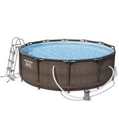 Bestway MYKONOS LUX fémvázas medence, rattan hatású, 366x100 cm, létrával, vízforgatóval FFA 201