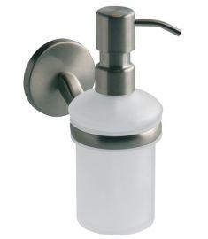 Bisk VIRGINIA fali folyékony szappanadagoló, fali tartóval, üveg, szálcsiszolt nikkel 72089