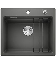 Blanco ETAGON 6 kerámia mosogató, ETAGON sínnel, dugókiemelővel, 58.4x51x22 cm, bazalt 525161