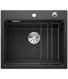 Blanco ETAGON 6 kerámia mosogató, ETAGON sínnel, dugókiemelővel, 58.4x51x22 cm, fekete 525162