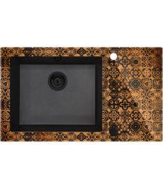 Deante CAPELLA PRECIOUS BRONZ egymedencés, üveg-gránit mosogató, 86x50x20 cm, bronz-fekete ZSCGM2C