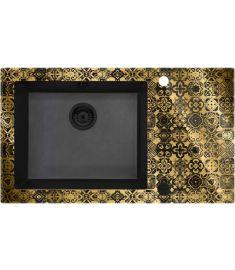 Deante CAPELLA PRECIOUS GOLD egymedencés, üveg-gránit mosogató, 86x50x20 cm, arany-fekete ZSCGG2C