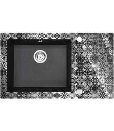 Deante CAPELLA PRECIOUS SILVER egymedencés, üveg-gránit mosogató, 86x50x20 cm, ezüst-fekete ZSCGP2C