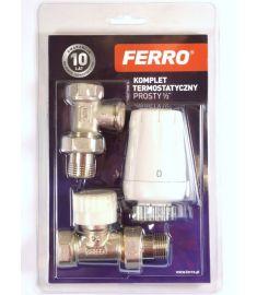 """Ferro Egyenes radiátorszelep szett, termosztátfejjel, 1/2""""x1/2"""" ZTM07"""
