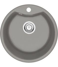 Deante FORTISSIMO gránit mosogató, szifonnal, leeresztővel, d48 cm, metál szürke, ZRSS803