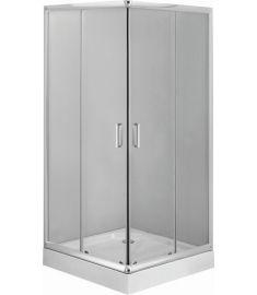Deante FUNKIA szögletes zuhanykabin tálcával, 80x80x201 cm, natúr üveg, króm keret KYC042K+KTC042B