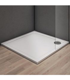 GH Design szögletes zuhanytálca, szifon nélkül, 80x80x3 cm, fehér