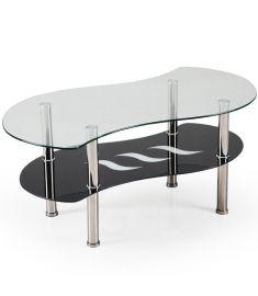 CATANIA üveg dohányzóasztal, átlátszó és fekete üveg/rozsdamentes acél, 100x55x43 cm HM0361