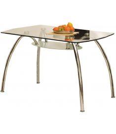 CORWIN BIS étkezőasztal, üveg-fém, átlátszó/króm, 125x75x72 cm HM0015