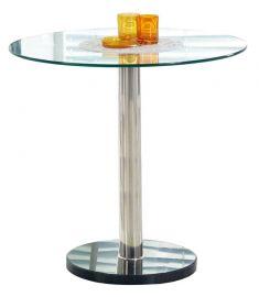 CYRYL kerek étkezőasztal, üveg-fém, átlátszó/rozsdamentes acél színű, 80x74 cm HM0019