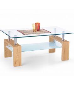 DIANA üveglapos dohányzóasztal, aranytölgy színű, 100x60x45 cm HM0390