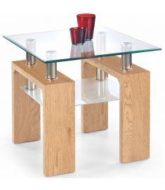 DIANA üveglapos dohányzóasztal, aranytölgy színű, 60x60x55 cm HM0381