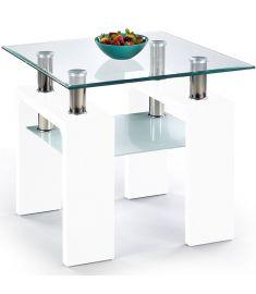 DIANA üveglapos dohányzóasztal, lakkozott fehér, 60x60x55 cm HM0383