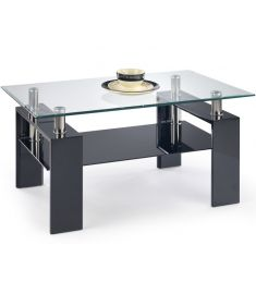 DIANA üveglapos dohányzóasztal, lakkozott fekete, 110x60x55 cm HM0378