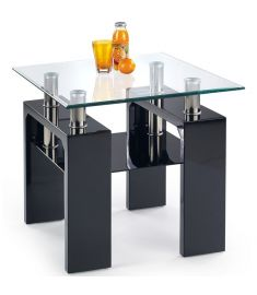 DIANA üveglapos dohányzóasztal, lakkozott fekete, 60x60x55 cm HM0384