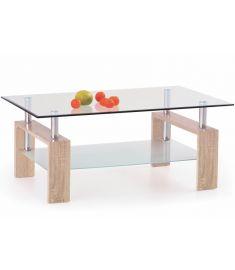 DIANA üveglapos dohányzóasztal, sonoma tölgy színű, 110x60x55 cm HM0375
