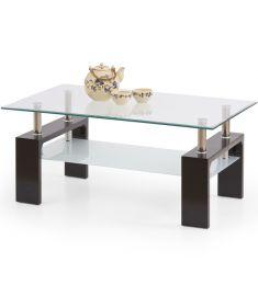DIANA üveglapos dohányzóasztal, wenge színű, 100x60x45 cm HM0393
