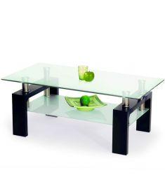 DIANA üveglapos dohányzóasztal, wenge színű, 110x60x55 cm HM0376