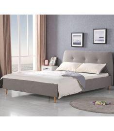 DORIS 160 franciaágy, matrac nélkül, ágyráccsal, szürke/égerfa színű, 169x217x100 cm HM0573