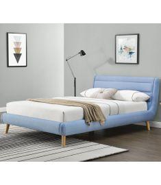 ELANDA 140 franciaágy, ágyráccsal, matrac nélkül, világoskék színű, 159x232x86 cm, HM1715