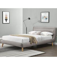 ELANDA 140 franciaágy, ágyráccsal, matrac nélkül, világosszürke színű, 159x232x86 cm, HM1714