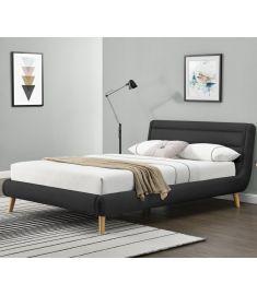 ELANDA 160 franciaágy, ágyráccsal, matrac nélkül, sötét szürke színű, 179x232x86 cm, HM1530