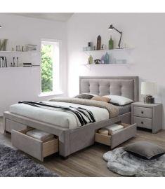 EVORA 160 fiókos franciaágy, matrac nélkül, ágyráccsal, bézs/dió színű, 164x210x111 cm HM0574