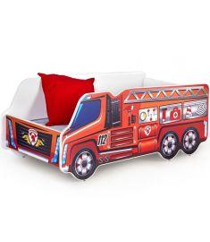 FIRE TRUCK gyerekágy matraccal, ágyráccsal, tűzoltóautó mintás, 148x74x58 cm HM0532