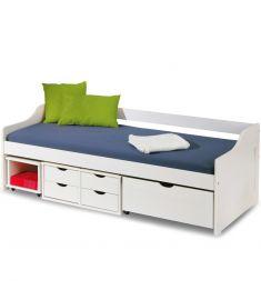 FLORO fiókos gyerekágy, matrac nélkül, ágyráccsal, matt fehér, 209x96x72 cm HM0533