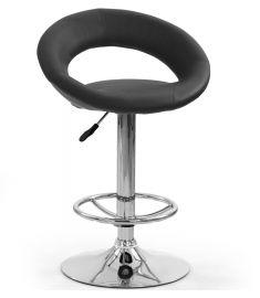 H-15 bárszék, állítható magasságú, fekete/króm színű, 54x46x80-102x61-82 cm HM0766
