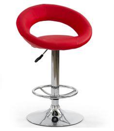 H-15 bárszék, állítható magasságú, piros/króm színű, 54x46x80-102x61-82 cm HM0767