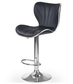 H-69 bárszék, állítható magasságú, fekete/króm színű, 48x55x91-111x61-81 cm HM0805