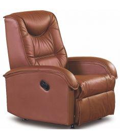 JEFF TV fotel, dönthető háttámlával és lábtartóval, barna eco bőr HM0630