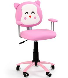 KITTY gyerek forgószék, macska mintás, rózsaszín/fehér, 54x49x76-86x44-54 cm HM1072