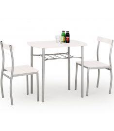 LANCE 2 személyes étkezőgarnitúra, fehér/ezüst színű, 82x50x75 cm HM0114
